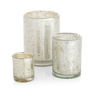 Bubbled Silver Glass Votive Candle Holder