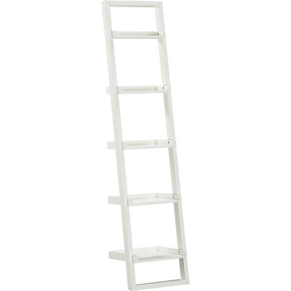 """Sloane White 18"""" Leaning Bookcase"""