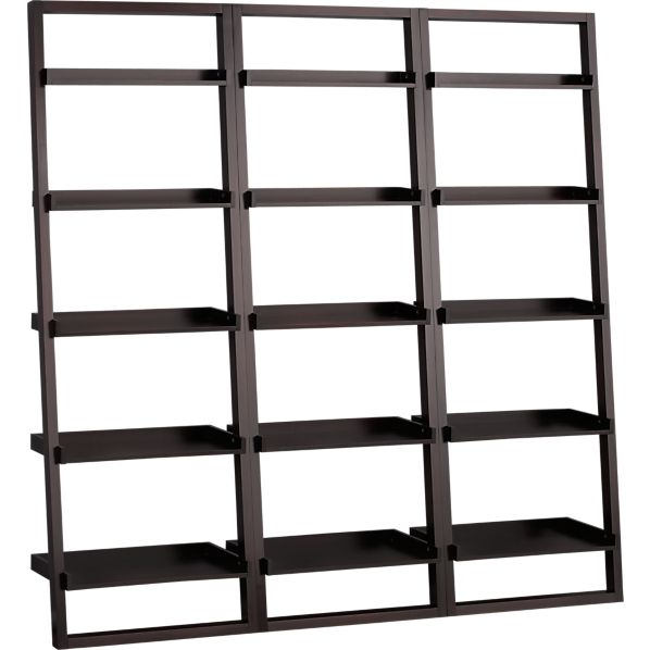 "Set of 3 Sloane Espresso 25.5"" Leaning Bookcases"