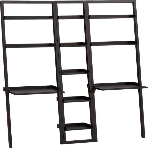 "Sloane Espresso 18"" Leaning Bookcase with 2 Desks"