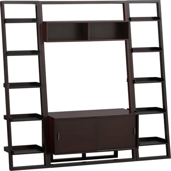 "Sloane Espresso 43.75"" Leaning Media Stand with 2 18"" Bookcases"