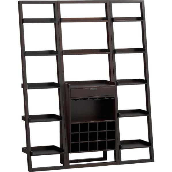 """Sloane Espresso Leaning Wine Bar with 2 18"""" Bookcases"""