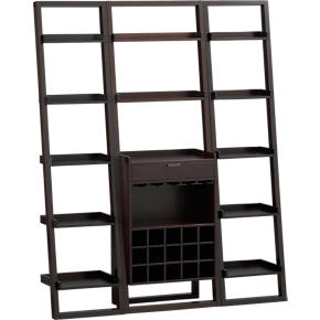 Sloane Espresso Leaning Wine Bar with 2 18 Bookcases