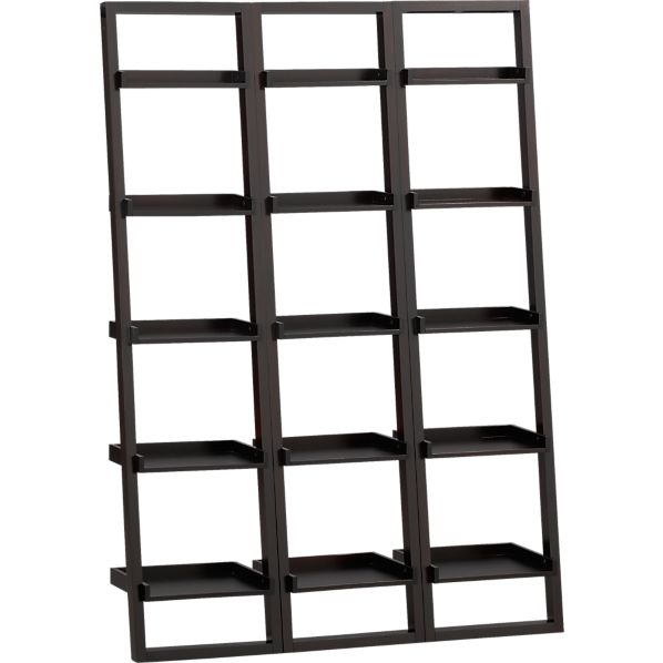 "Set of 3 Sloane Espresso 18"" Leaning Bookcases"