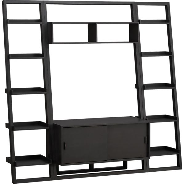 "Sloane Grey 43.75"" Leaning Media Stand with 2 18"" Bookcases"