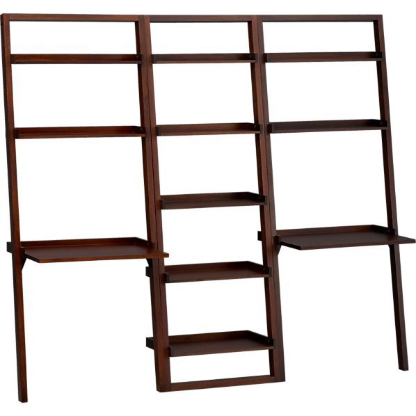 "Sloane Java 25.5"" Leaning Bookcase with 2 Desks"