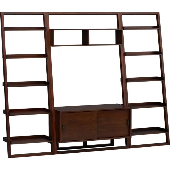 """Sloane Java 43.75"""" Leaning Media Stand with Two 25.5"""" Bookcases"""