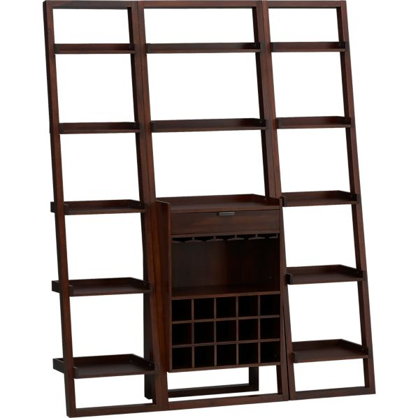 """Sloane Java Leaning Wine Bar with Two 18"""" Bookcases"""