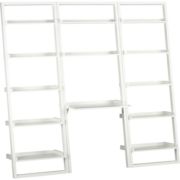 """Sloane White Leaning Desk with 2 25.5"""" Bookcases"""