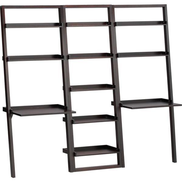 "Sloane Espresso 25.5"" Leaning Bookcase with 2 Desks"