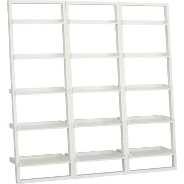 "Set of 3 Sloane White 25.5"" Leaning Bookcases"