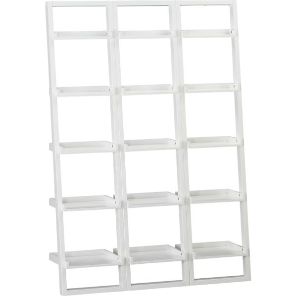 "Set of 3 Sloane White 18"" Leaning Bookcases"