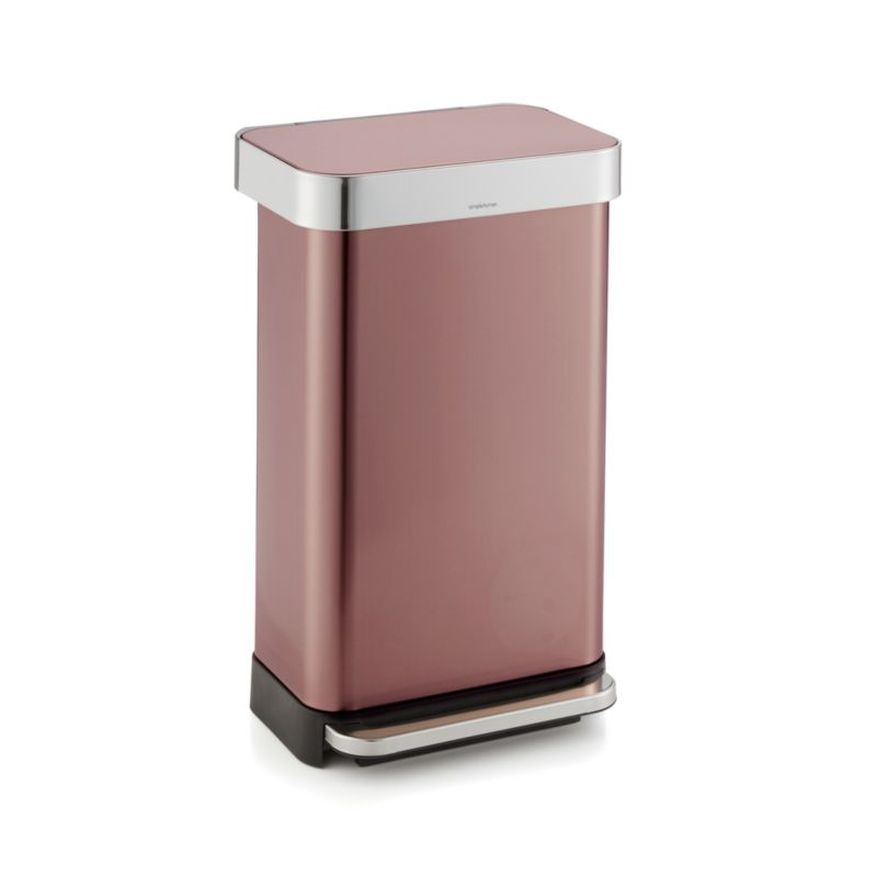 simplehuman ® 45-liter/12-gallon Rose Gold Rectangular Step Can