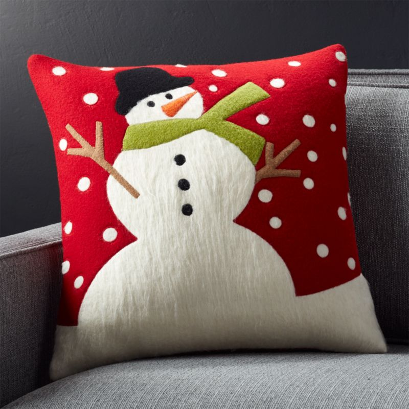 """Snow Day 18"""" Holiday Snowman Pillow with Feather-Down Insert"""