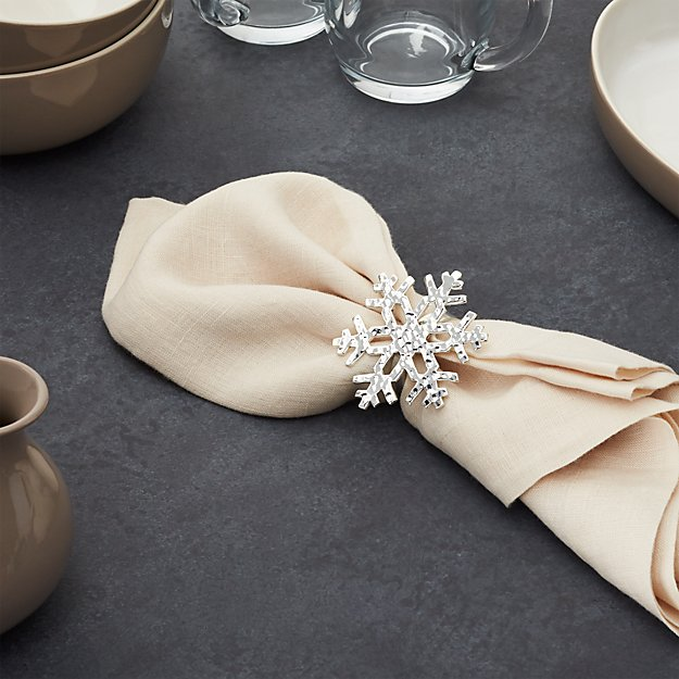 Hammered Silver Snowflake Napkin Ring Crate And Barrel
