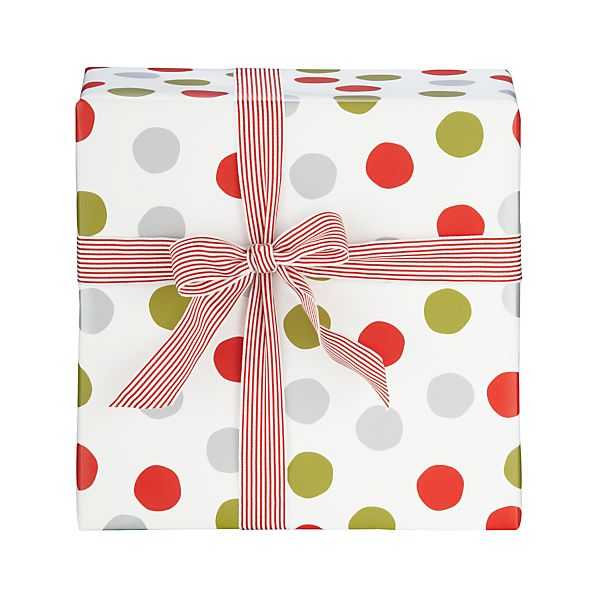 Red and White Snowball Gift Wrap