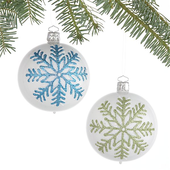 Set of 2 Snowflake Ball Ornaments