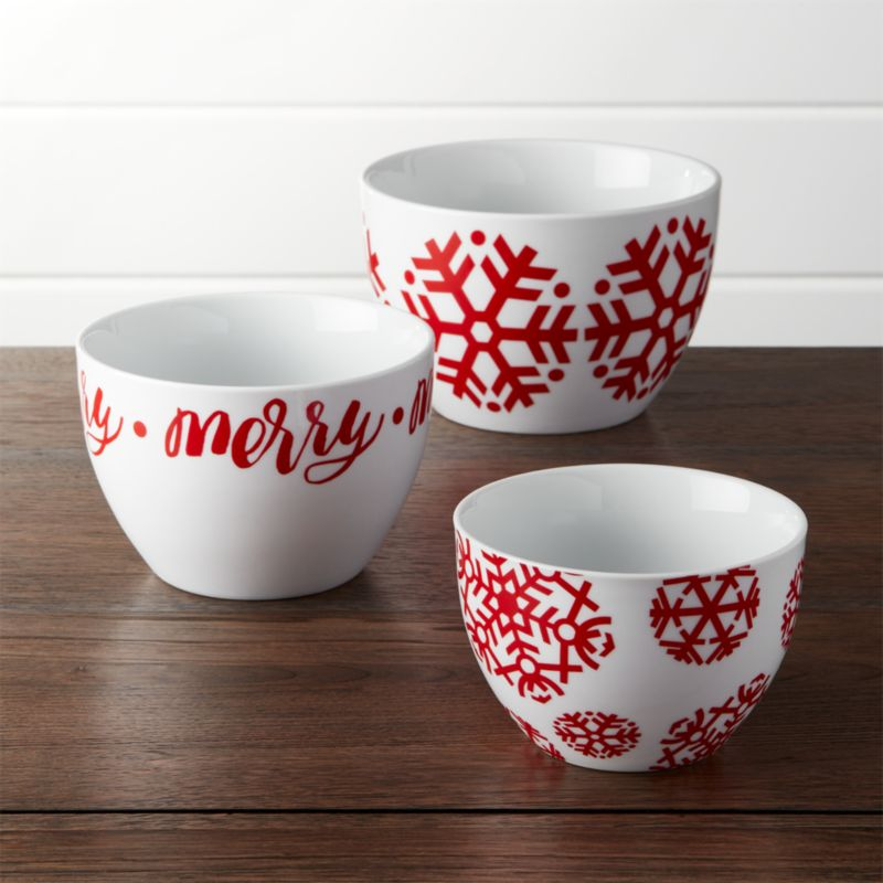 Nesting Snowflake Bowls Set of Three