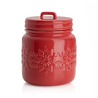 Snowflake Red Cookie Jar