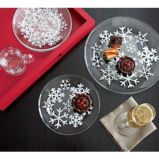 Snowflake Glass Plates