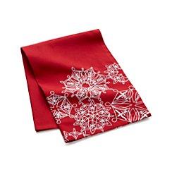 Snowflake Edge Red Dish Towel