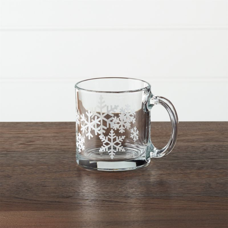 Pure white snowflakes come into focus when you pour your favorite beverage into this contemporary straight-up mug with oversized handle. Small size is great for kids or double espresso or macchiato.<br /><br /><NEWTAG/><ul><li>Glass</li><li>Dishwasher- and microwave-safe</li><li>Made in Mexico</li></ul>
