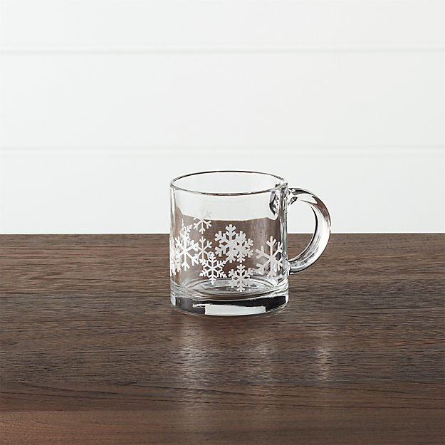 Snowflake 13 Oz Glass Coffee Mug Crate And Barrel