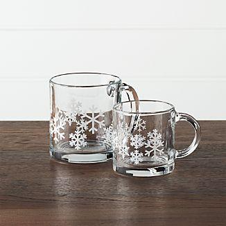 Snowflake Glass Coffee Mugs