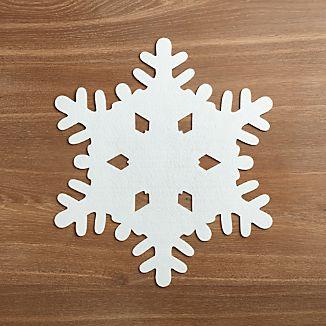 White Snowflake Felt Placemat