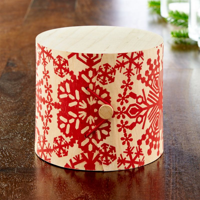 Birch Gift Box with Red Snowflakes