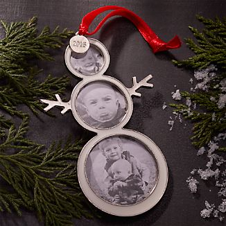 Snowman Photo Frame Ornament with 2016 Charm
