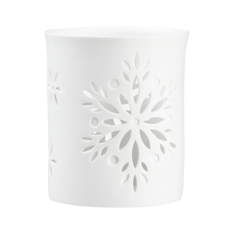 """Elegant white porcelain luminaries scatter candlelight through lacy cutouts of fanciful floral snowflakes.<br /><br /><NEWTAG/><ul><li>Porcelain</li><li>Accommodates up to 3""""-dia. pillar candle, sold separately</li><li>Made in China</li></ul>"""