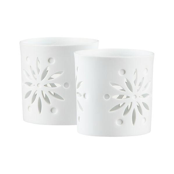 Set of 2 Snowsettia Candleholders
