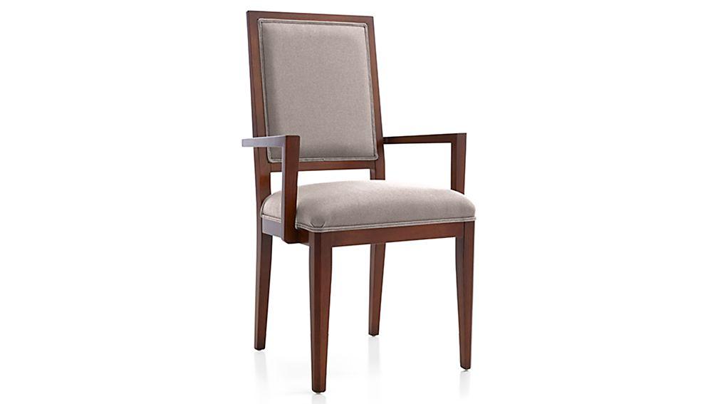 Sonata Aretina Walnut Dining Arm Chair Belem Pebble  : SonataArtnArmChrBlmPebbl3QF16 from www.crateandbarrel.com size 1008 x 567 jpeg 21kB