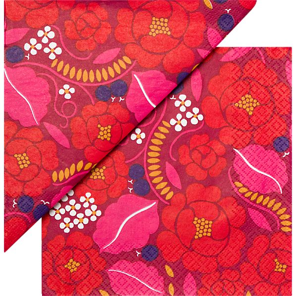 "Set of 20 Marimekko Sonja Red Paper 6.5"" Napkins"