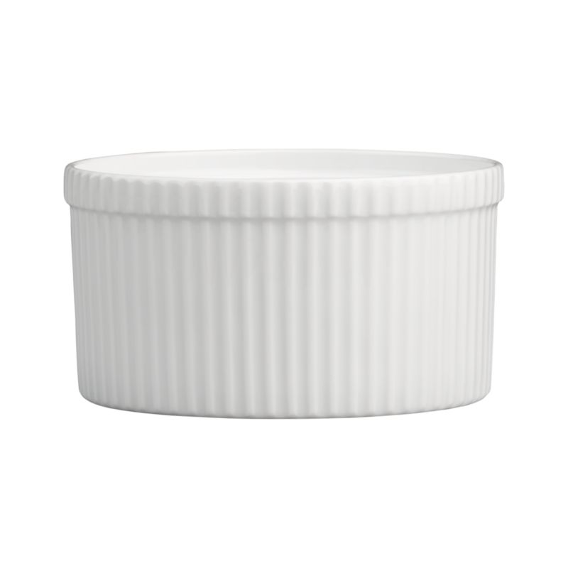 Durable, ribbed white porcelain adds classic style to a variety of foods. Soufflé dish is suitable for any recipe with a crumb or bread topping, deep soufflés, casseroles or even gelatin creations. The uses are endless.<br /><br /><NEWTAG/><ul><li>Durable white porcelain</li><li>Oven to table</li><li>Dishwasher-, microwave-, oven-, broiler- and freezer-safe</li><li>Made in Vietnam</li></ul>