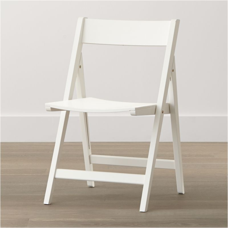 spare white folding wood dining chair crate and barrel. Black Bedroom Furniture Sets. Home Design Ideas