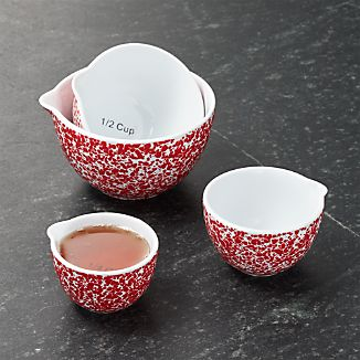 Red Spatterware Measuring Cups Set of Four