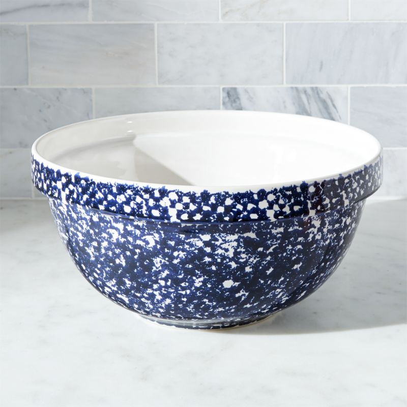 Spatterware Blue Mixing Bowl