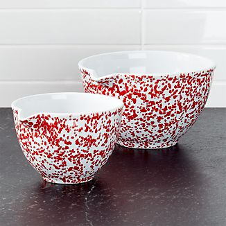 Red Spatterware Spouted Bowls Set of 2