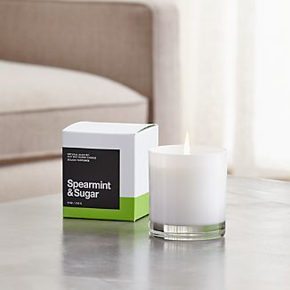 A flicker of fragrance to renew home and spirit. Our exclusive collection of handpoured, soy-blend candles brings together unique scent pairings to express your style and mood. Refreshing spearmint and mood-lifting sugar mingle with essences of lime, Valencia orange, lavender, rose and musk.