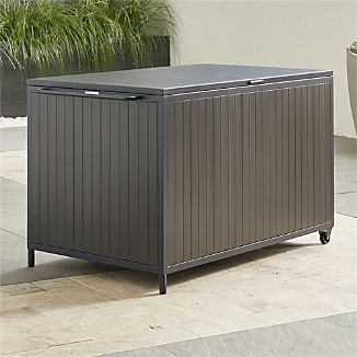 Multipurpose outdoor storage box multitasks in the backyard, garage or screened porch, storing outdoor cushions, pillows and other patio necessities as well as providing a serving station for backyard bashes.