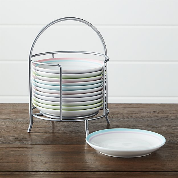 set of 12 spring stripes plate with stand crate and barrel