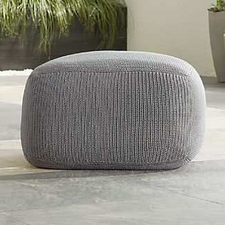 Outdoor Square Graphite Pouf