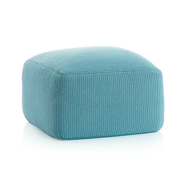 outdoor square mineral pouf crate and barrel. Black Bedroom Furniture Sets. Home Design Ideas