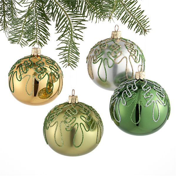 Set of 4 Squiggle Tree Ball Ornaments