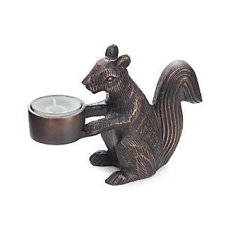 Squirrel Bronze Tealight Candle Holder