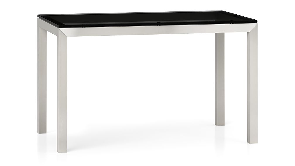 Grey Glass Top/ Stainless Steel Base 48x28 Parsons Dining Table