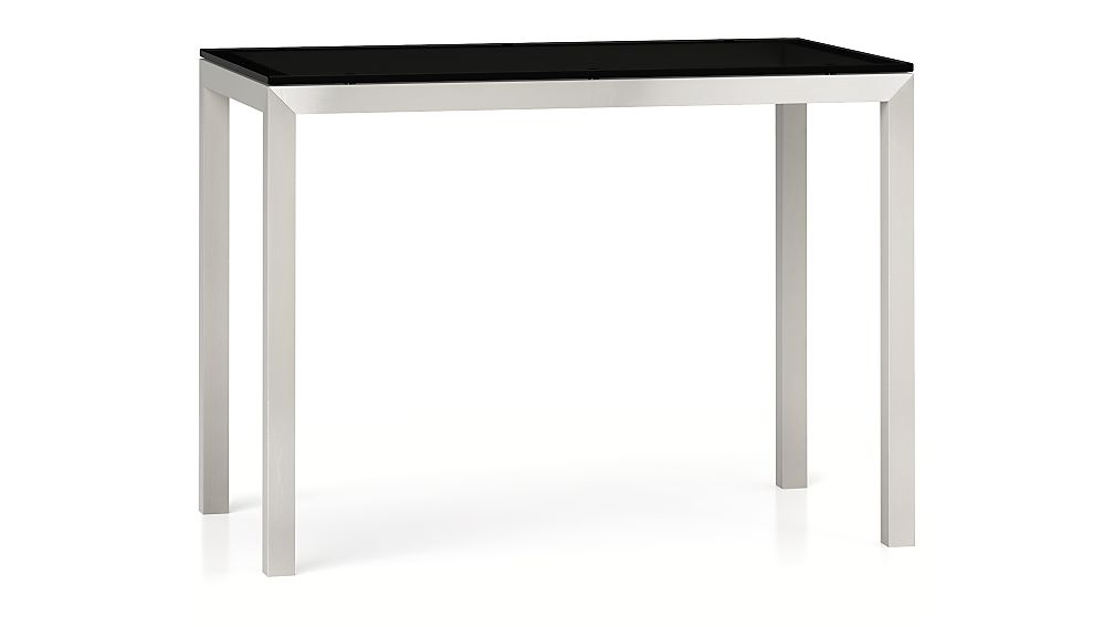 Grey Glass Top/ Stainless Steel Base 48x28 Parsons High Dining Table
