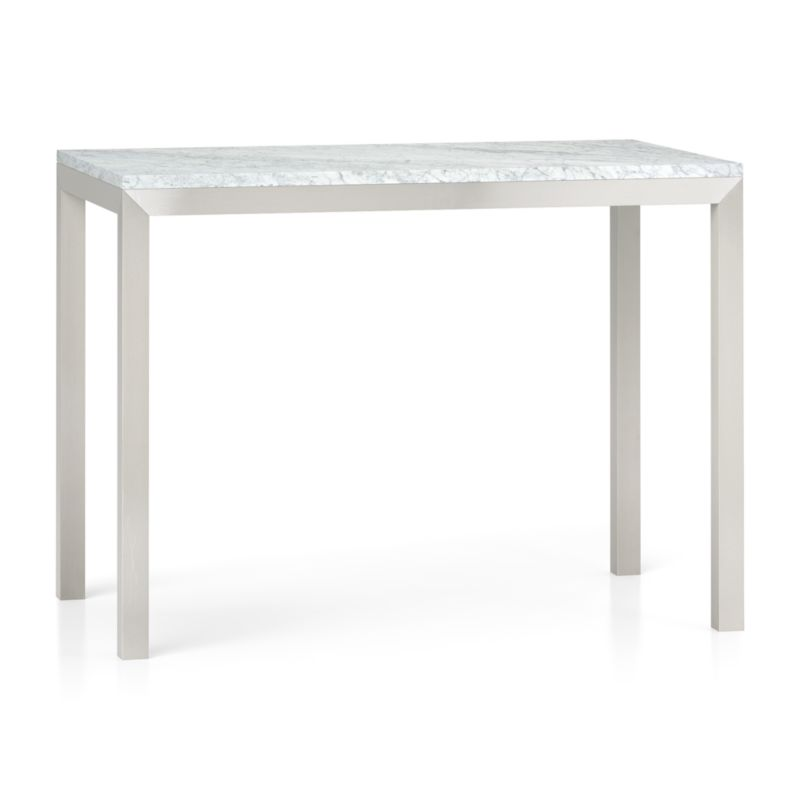 Parsons White Marble Top Stainless Steel Base 48x28 High
